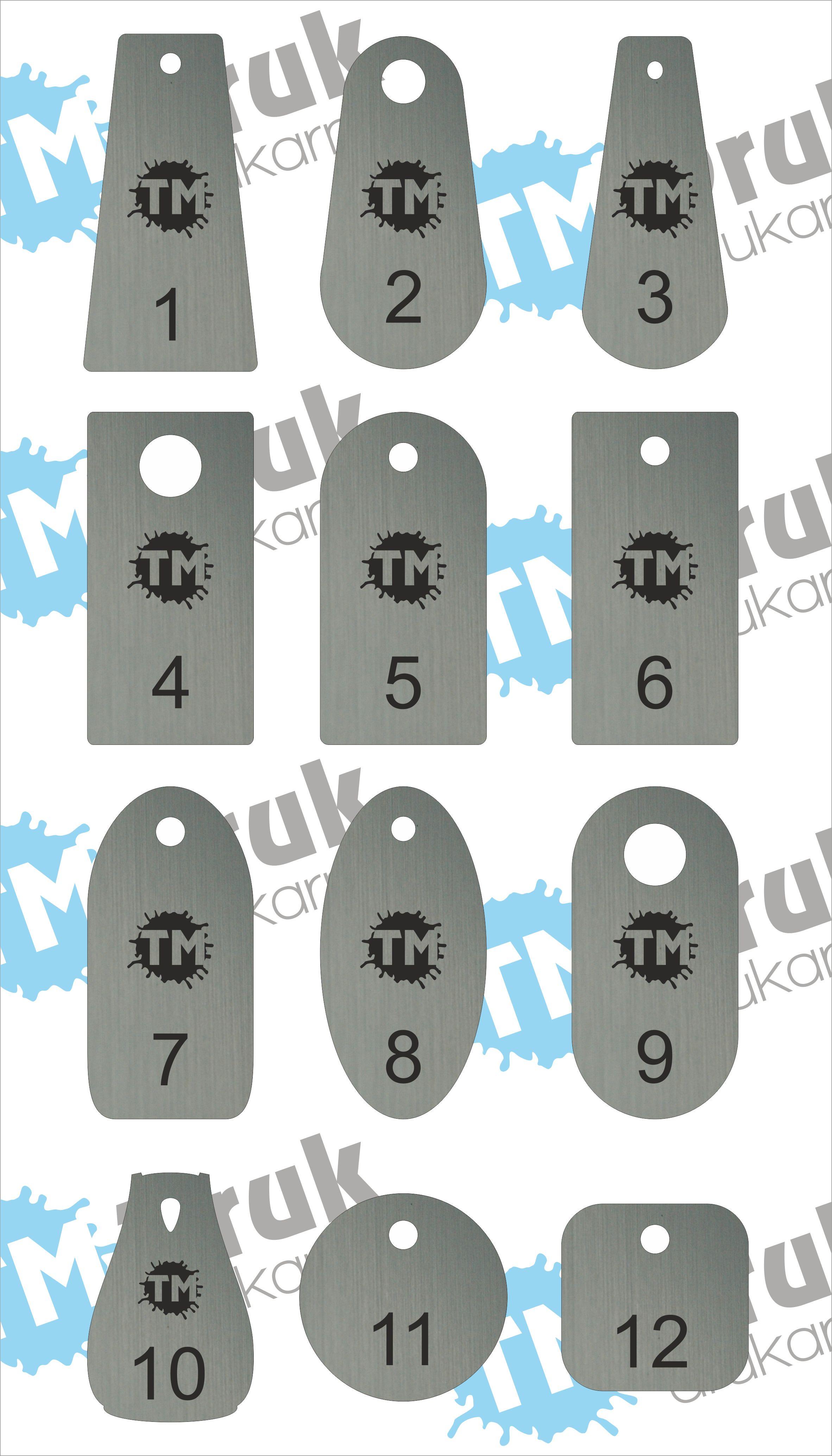 Przykłady numerków-zawieszek-breloków do szatni
